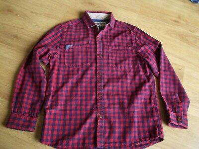 Next Boys Navy Blue & Red Checked Shirt With Collar Age 8-9 Years