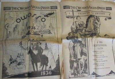 1836-1936 Owosso Michigan Centennial Edition Newspapers + July Heat Wave Argus