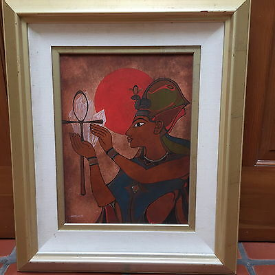 "David Chethlahe Paladin Original Painting On Silver Tin Framed Size  25"" X21"""