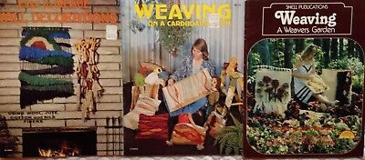Lot Of 3 Vintage Weaving Books ~A Weavers Garden ~ Wall Decor~ Cardboard Loom