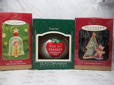 Hallmark Lot of 3 Teacher Ornaments 2001 Bell, 1999 Owl and 1986 Ball