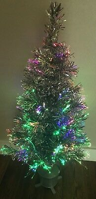 Dazzling Colorful Fiber Optic 32'' Silver Christmas Tree Color changing
