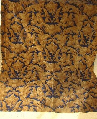One panel fragment French antiqueVelvet Silk XIX Arabesques Flowers And Fruits