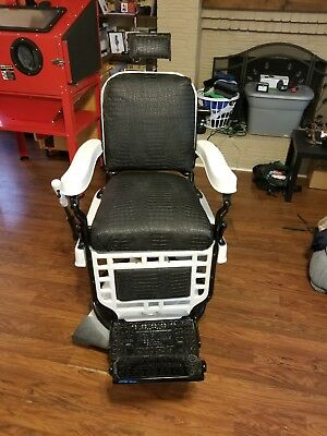 Vintage Antique Barber Chair w/ Porcelain Enamel-Theo A Kochs-Hydraulics Work