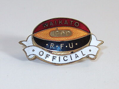 "Vintage 1960 New Zealand ""Waikato RFU Official"" Enamel Rugby Badge by Worrall"