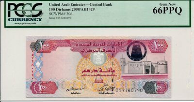 Central Bank United Arab Emirates  100 Dirhams 2008  PCGS  66PPQ
