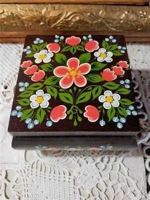 Vintage Hand Painted Russian Floral Folk Art Wooden Footed Trinket Jewelry Box