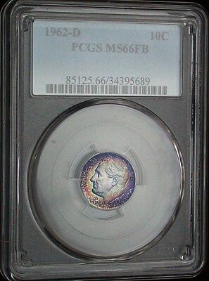 1962 d PCGS MS66FB Gem Colorful Toned Roosevelt Dime (mb452)