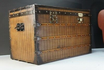 Stunning Louis Vuitton Rayee Striped Canvas Early Steamer Trunk