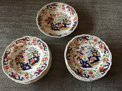 Gorgeous Antique Chinese Hand Painted Imari Porcelain Dinnerware Plates & Bowls