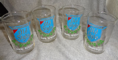 """Set Of 4 Heileman's Old Style Beer Glasses 3 1/2"""" Tall"""