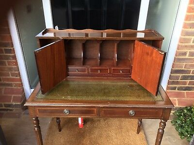 Ornate Reproduction  Writing Desk, Green Leather top, Tapered legs.