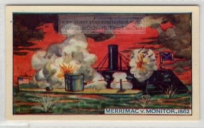 1862 Merrimac and Monitor Civil War Ironclad Warships 75+ Y/O Ad Card