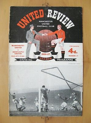 MANCHESTER UNITED v NEWCASTLE UNITED 1956/1957 Good Condition Programme + Token