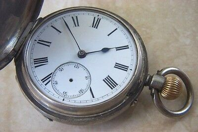 A SILVER HUNTER CASED POCKET WATCH WITH ARMY ENGRAVING c.1887 FOR REPAIR
