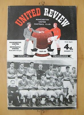 MANCHESTER UNITED v NEWCASTLE UNITED 1957/1958 Exc Condition Programme - Munich