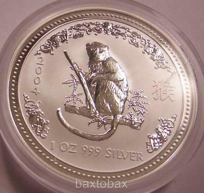 2004 AUSTRALIAN LUNAR YEAR OF THE MONKEY  1 oz.  SILVER COIN *BU* ~ Series 1
