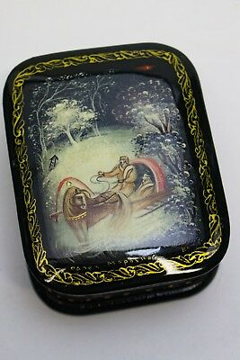 Winter Travel Sleigh Ride Soviet Russian Miniature Lacquer Box Signed