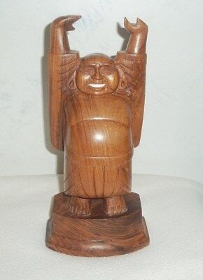 Vintage Carved Solid Wooden Happy Buddha 10 Inches Tall w/inlaid white teeth
