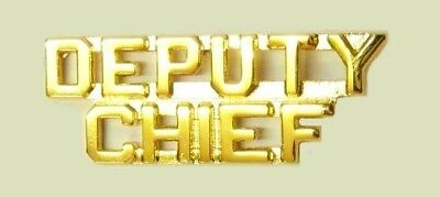 Deputy Chief Collar Pin Set Gold Cut Out Letters Heros Fire Dept Police Rank New
