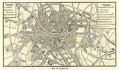 Norwich, map of town centre, antique engraving, 1880s