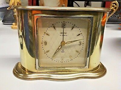 Vintage Brass Oris Swiss made 15 jewel 8 day clock alarm engraved from a hall