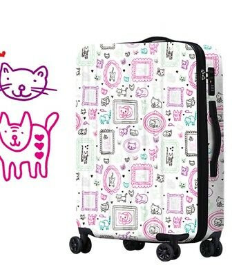 A668 Lock Universal Wheel White Cartoon Travel Suitcase Luggage 20 Inches W
