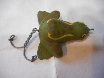 Carved Wood Folk Art Frog Fishing Lure Very Nicely Done