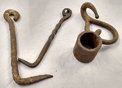 Antique Hand Forged Cast Iron Lot Door Gate Latch Hook Hanging Bracket VTG