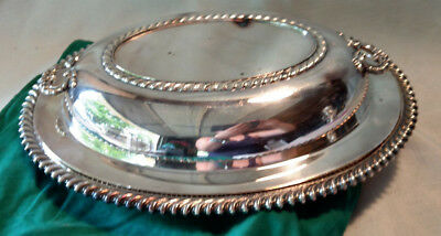 "Silver Plate Oval Platter Wilcox Ashley Co VTG Lidded 12x9"" HEAVY Storage Bag IS"