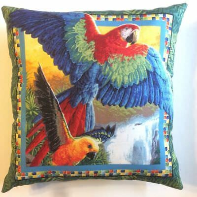 New 15 X 15 Multi Color Parrots Tropical Theme Pillow - Complete Throw Pillow