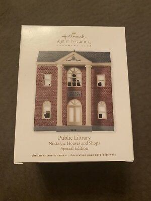 2012 Hallmark Keepsake Ornament Nostalgic Houses Public Library New NIB Club