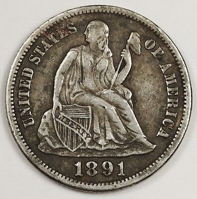 1891-s Liberty Seated Dime.  Natural X.F.  131648