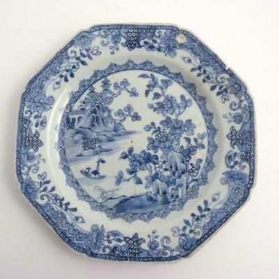 18Th Century Chinese Blue And White Octagonal Porcelain Plate, Qianlong Period
