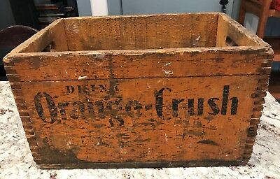 "Vintage ORANGE CRUSH Wood Crate Dovetailed 15"" x 11"""