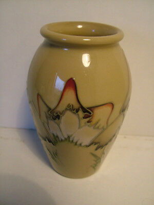 Vintage Moorcroft British art pottery small vase with toadstools