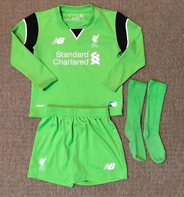 bdb2589d06f Boys Liverpool goalkeeper football kit size 2-3 years New Balance 2016-2017