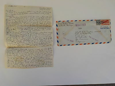 WWII Letter 1942 35th Infantry Wife Registered Mail Cancels Atlanta Georgia WW2