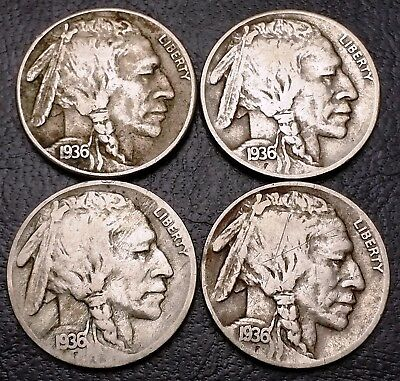Lot of 4x Buffalo 5 Cents Nickels - Date: 1936 ***Great Condition***