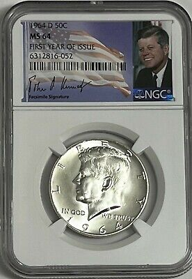 1964 D Ngc Ms64 Silver Kennedy Half Dollar First Year Issue Jfk Coin Signature