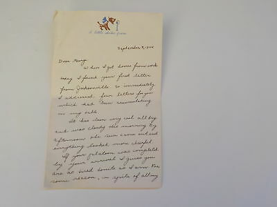 WWII Letter 1944 Navy Wife Jacksonville Florida Naval George Mell VTG Old WW2