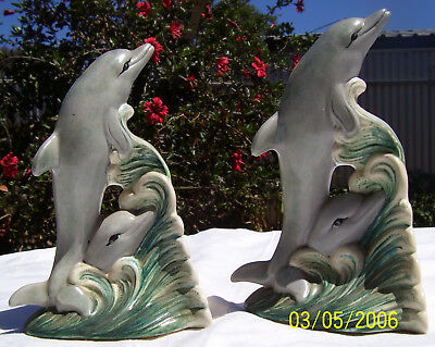 Pair Of Vintage Dolphin On Waves Bookends