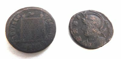 2 x Miniature Antique COINS With Age Related Wear & Fading 12mm Each - I01