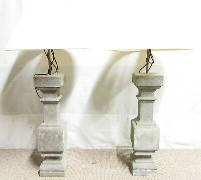 Pair French Victorian stone Lamps Lights Table Lamps Circa 1880