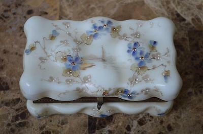 Antique Circa 1900's Wave Crest Wavecrest Egg Crate Glass Trinket Box Dresser