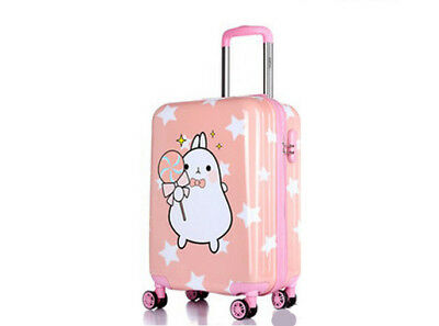 A46 Pink Cartoon Rabbit Universal Wheel Suitcase Luggage Trolley 18 Inches W