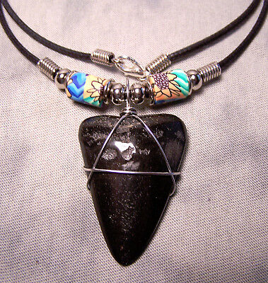 """Big  1 9/16"""" Megalodon Shark Tooth Teeth Necklace Extinct Fossil Jaw Scuba Dive"""