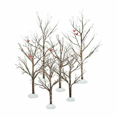 Dept 56 Snow Village ~ Bare Branch Trees Set of 6 ~ Mint In Box 52623