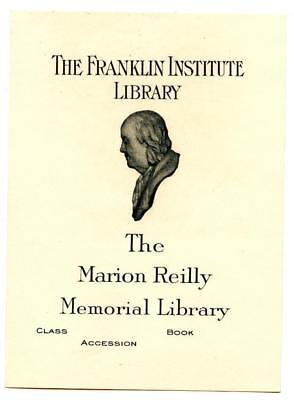 Engraved Bookplate Libris Franklin Institute Marion Reilly Library Philadelphia