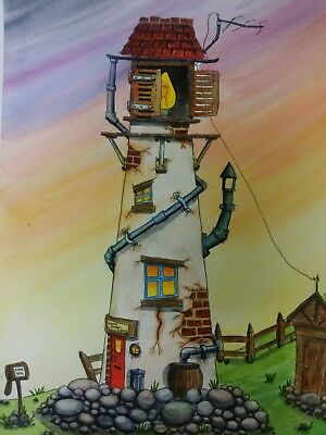 Original Watercolour Painting A4 by Colin Coles - Seascape, Lighthouse, Shed
